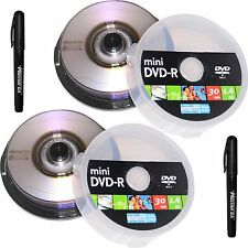 20 Memorex Duralayer Mini 8cm DVD-R x4 Camcorder Blank Media Disc 1.4Gb 30min