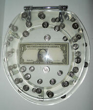 LUCITE Resin Toilet Seat Standard Clear US Dollar Coins Money Vintage  #659