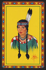 1 SINGLE VINTAGE SWAP PLAYING CARD NATIVE AMERICAN INDIAN MAIDEN PIEL ART PI-5-6