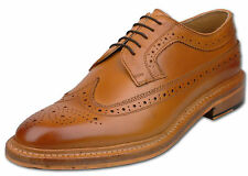 Mens Tan Lace Up Full Leather Formal American Style Brogue Shoes UK Size 7