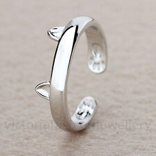 925 Sterling Silver Plated CAT EARS RING Thumb/ Wrap Ring. ADJUSTABLE. Pet Gift