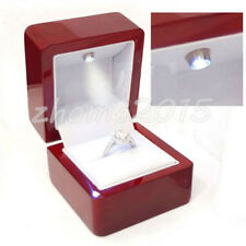 Luxury Solid Cherry Polish & LED Light Single Engagement Jewelry Ring Box Gift