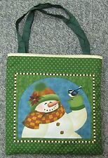 New tote hand toy school shoe purse bag Christmas snow snowman scarf bluebird