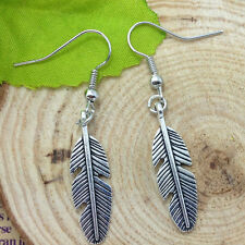 Antique silver feathers Earrings Handmade Jewelry!