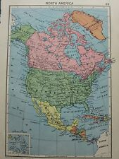 1942 MAP ~ NORTH AMERICA CANADA UNITED STATES MEXICO WEST INDIES CUBA JAMAICA