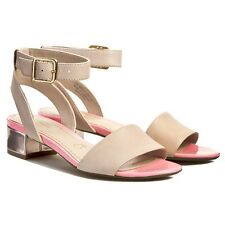 Clarks Ladies Sharna Balcony Oyster / Pink Leather Sandals  size 3.5 wide fit