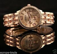Geneva Chronograph Designer Style Ladies Women Rhinestone ROSE GOLD Watch