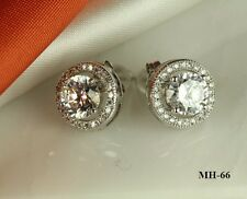 LADIES HALO 925 STERLING SILVER CZ ROUND CZ PAVE SOLITAIRE PRONG STUD EARRINGS