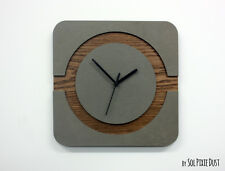 Concrete and Wood Square Circle Wall Clock - Modern Wall Clock