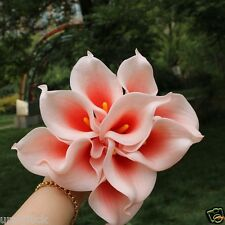 10 Blush Coral Heart Calla Lilies Bouquet PU Calla Lily For Wedding Centerpiece