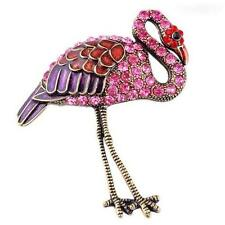 Gold Plated Crystal Flamingo Pin Brooch Bird Red Pink Purple Enamel USA Seller