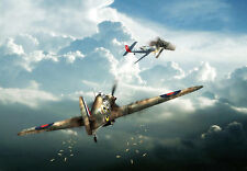 Hurricane - From Nowhere - Airplane - War A3 Art Poster Print