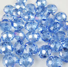 Jewelry Faceted 30pcs Rondelle glass crystal #5040 6x8mm Beads Light blue AB
