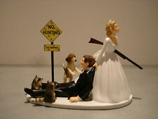 Hunt Hunting Humor Funny Bride Groom Wedding Cake Topper Dog Raccoon Gun Sign