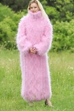 SUPERTANYA PINK Hand Knitted Mohair Sweater Dress Fuzzy Cable Thick Long Robe