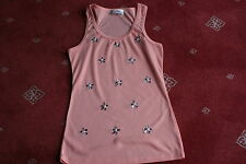LADIES CORAL GEMS AND PEARLS TOP  S/M