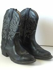 Stamped Children's Unisex Black Western Cowboy Boots Youth Size 4 Man Made