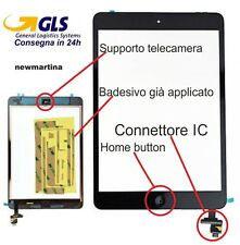 TOUCH SCREEN IPAD mini 2 NERO + CONNETTORE IC vetro touch TASTO HOME schermo