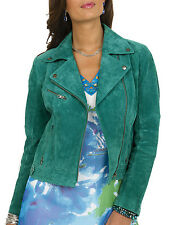 Ladies UK Size 12-14 Biker Style Jacket Women Suede Leather in Green