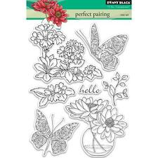 New Penny Black RUBBER STAMP clear PERFECT PAIR FLOWERS BUTTERFLY free usa ship