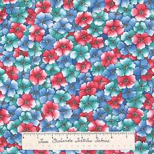 Calico Fabric - Floral Fantasy Red Teal Blue Flowers - Kings Road Cotton YARDS