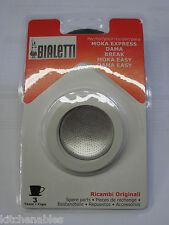 Bialetti Express 3 Gaskets & Filter Plate Replacement Set - 3 CUP Moka Espresso