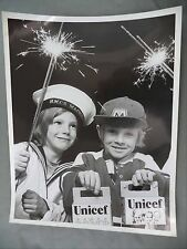 Vintage B&W Newspaper Photo HMCS Mackenzie Unicef Children Sparklers Sailor Suit