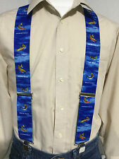 """New, Men's, Trout on Blue, XL, 2"""", Adj., Suspenders / Braces, Made in the USA"""