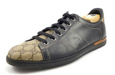 Gucci Mens Shoes Size 10 US Interlocking G Leather, Canvas Sneakers Black