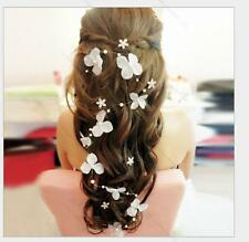 White flower crystals Pearls Beads Bridal Wedding #R Headpiece Hair Accessories