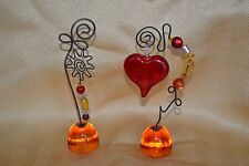 ARTISAN made GLASS wired sitting WINDOW sun catchers LOVE beads