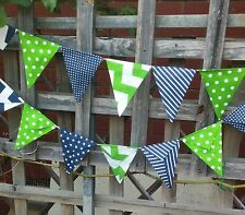 Modern Bunting handmade fabric 15 flags - lime green and navy garland flags