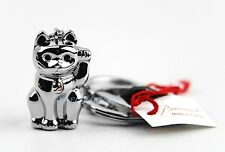 BACCARAT ZOO CAT TIN MANEKI NEKO KEY RING CHAIN CHARM RUBY CRYSTAL FRANCE NEW