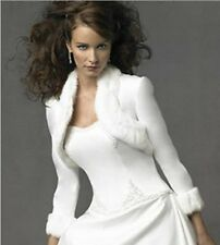 long sleeves Ivory Faux Fur Wrap Wedding Shrug Bolero Stole Jacket Bridal Shawl