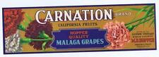 Carnation, malaga grapes, Fresno CA Fruit Crate Label