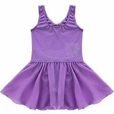 Girl Kids Gymnastics Ballet Dance Dress Leotard Skating Tutu Skirt Costume 3-4