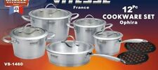 ViTESSE 12PC Tri-Ply Brush Stainless Steel Cookware Set Dutch Oven Saucepan Fry