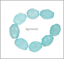 150CT Sea Blue Chalcedony Faceted Nugget Beads A #59050