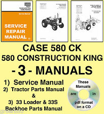 CASE 580CK Tractor SERVICE Manual & PARTS -3- MANUALS - SEARCHABLE & INDEXED CD