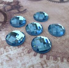 Blue Glass Faceted Round Cabochon - 6 pcs