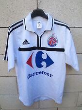 VINTAGE Maillot ADIDAS porté n°4 COUPE de FRANCE Foot à 9 blanc shirt S ancien
