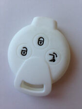 White Silicone FOb Skin Key Cover Keyless Fob Remote Smart Key for SMART Fortwo