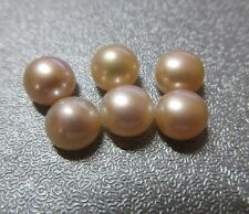 Peach Half Drilled Freshwater Button Pearl Beads 8mm 6pcs