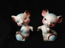 Vintage Japan Ceramic Mice Salt & Pepper Shaker Blue White Mice Mouse