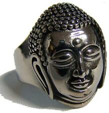 BUDDHA HEAD STAINLESS STEEL RING size 10 - S-540 biker  MENS womens religious