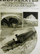 White Mountains NH TUCKERMAN'S RAVINE TIP TOP HOUSE Cog Train 1886 Print Matted