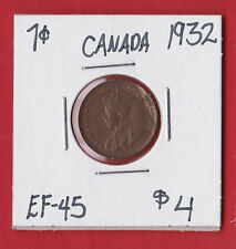 1932 Canada One Cent Penny Coin EF-45    7686  $4