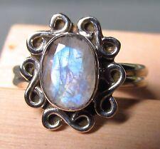 Sterling silver everyday cut rainbow moonstone ring UK L-L¼/US 6.