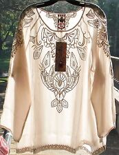 $234 JOHNNY WAS EMBROIDERED JEWEL TUNIC TOP CUT OUT RAYON DUSTY PINK SZ L NWT