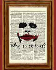The Joker Heath Ledger Dictionary Art Poster Dark Knight Batman Why So Serious